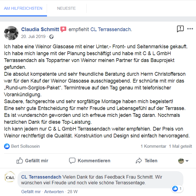 Glasdach Referenz einer Kundin auf Facebook